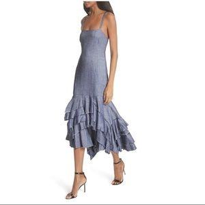 MILLY   Stretch Denim Linen Ruffle Blue Dress